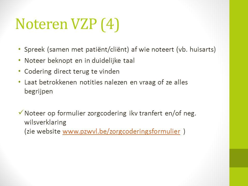 Noteren VZP (4) Spreek (samen met patiënt/cliënt) af wie noteert (vb. huisarts) Noteer beknopt en in duidelijke taal.
