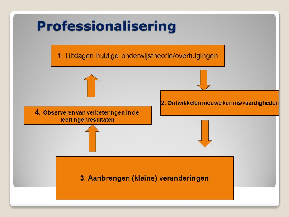 Professionalisering 1. Uitdagen huidige onderwijstheorie/overtuigingen