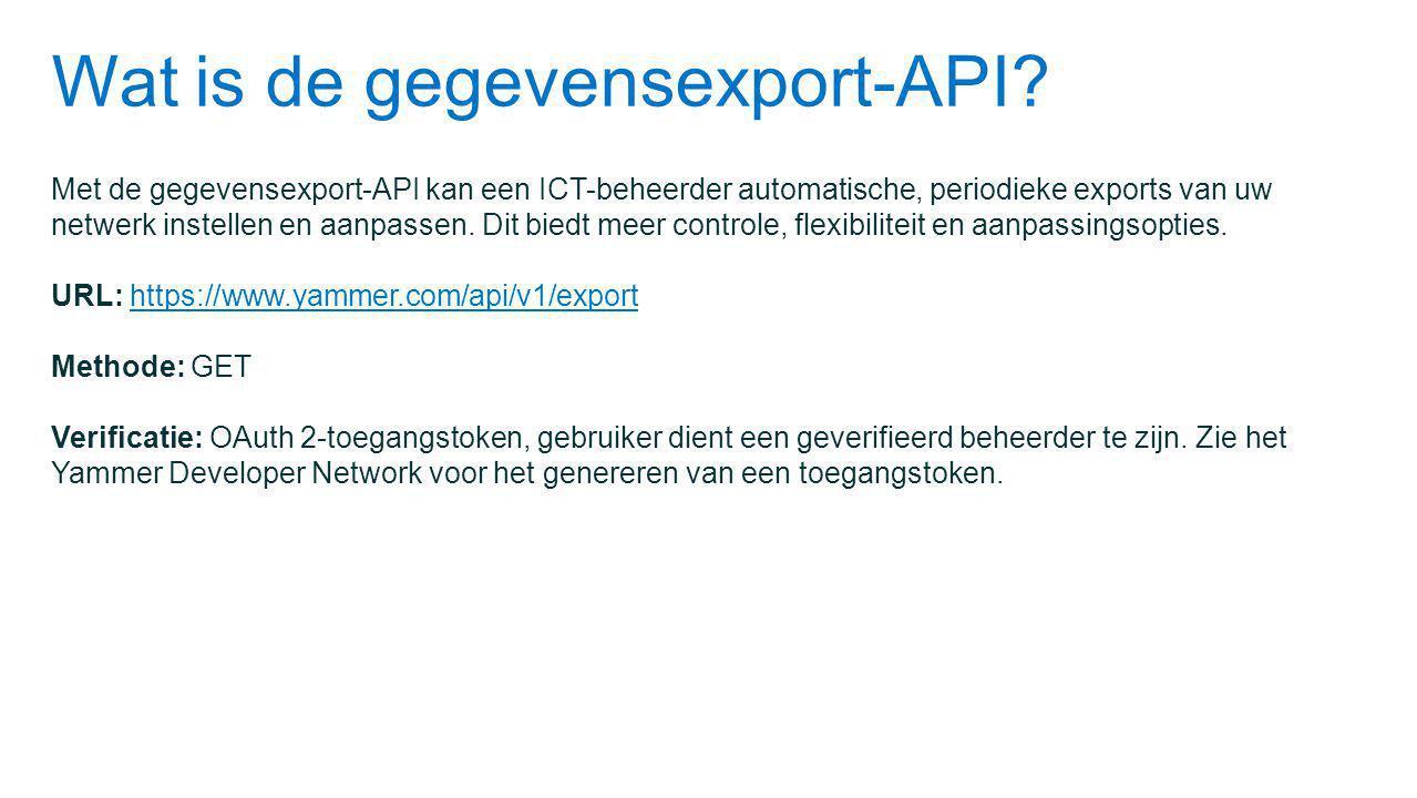Wat is de gegevensexport-API