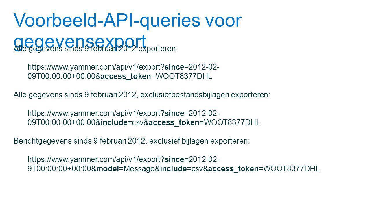 Voorbeeld-API-queries voor gegevensexport