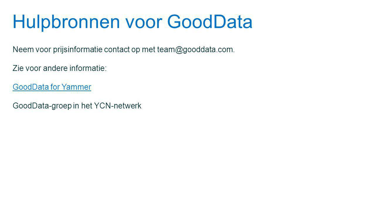 Hulpbronnen voor GoodData
