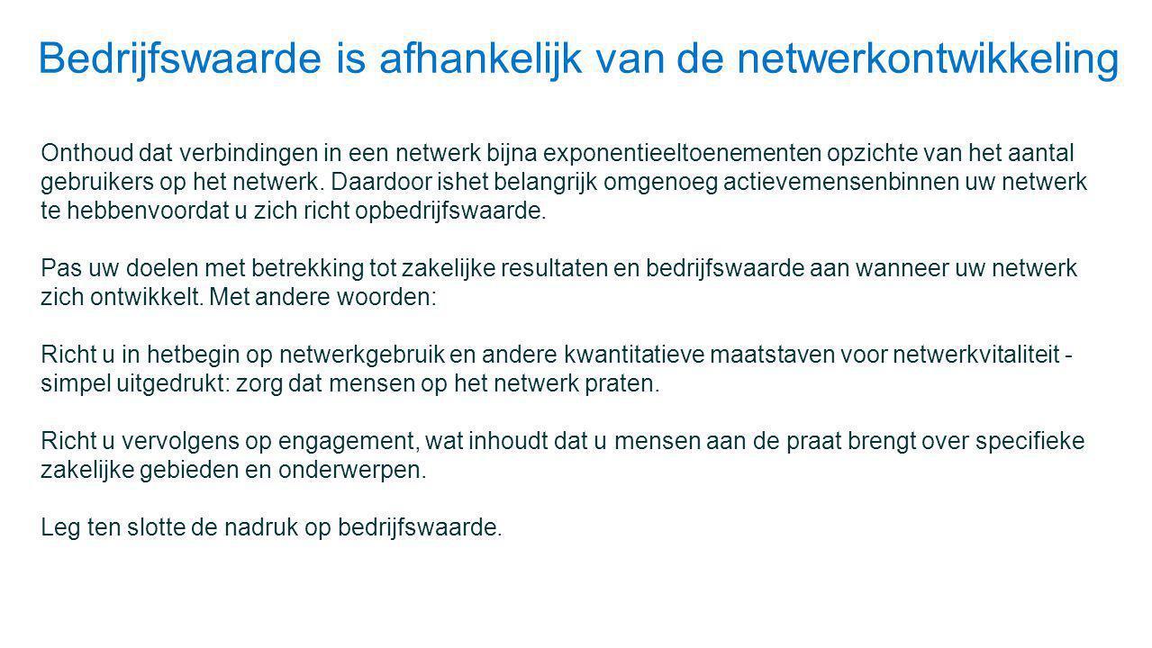 Bedrijfswaarde is afhankelijk van de netwerkontwikkeling
