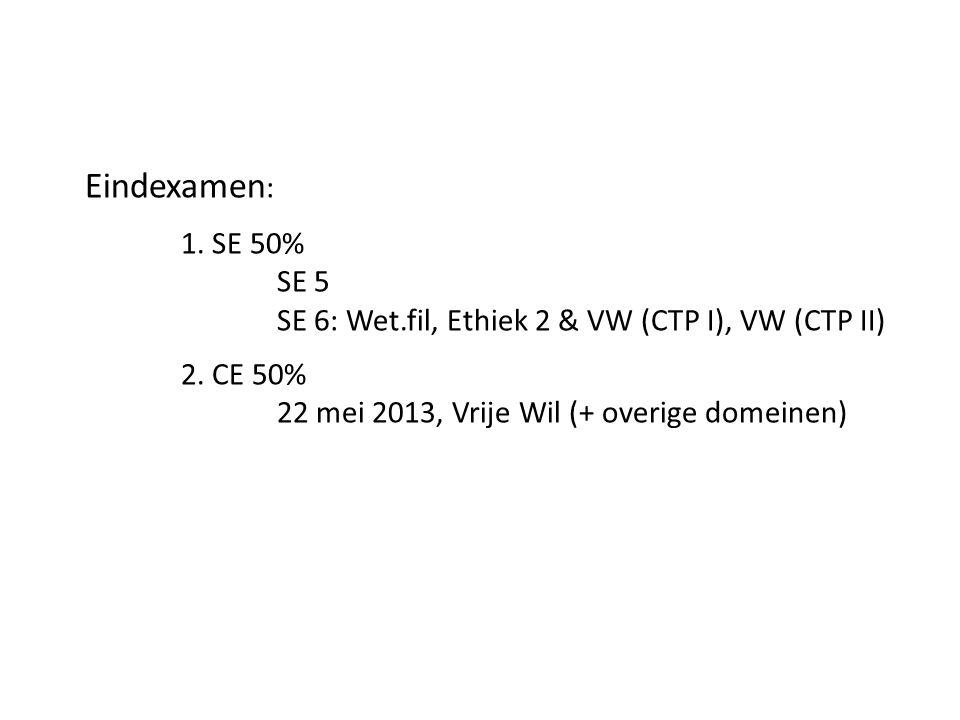 Eindexamen: 1. SE 50% SE 5. SE 6: Wet.fil, Ethiek 2 & VW (CTP I), VW (CTP II) 2.