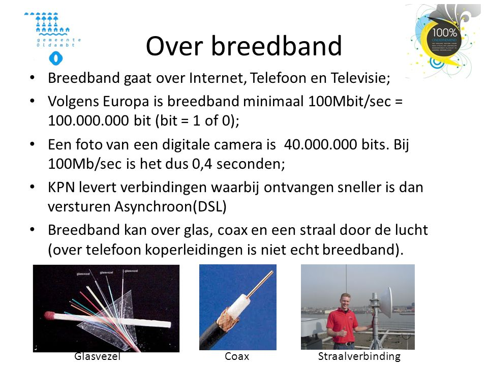 Over breedband Breedband gaat over Internet, Telefoon en Televisie;