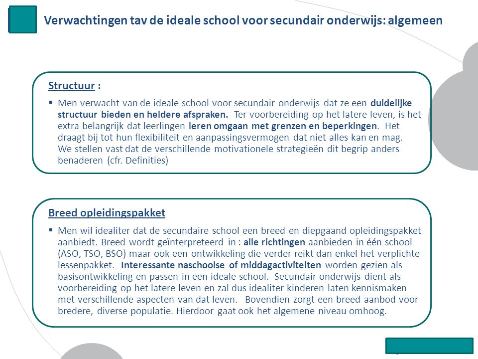 Verwachtingen tav de ideale school voor secundair onderwijs: algemeen