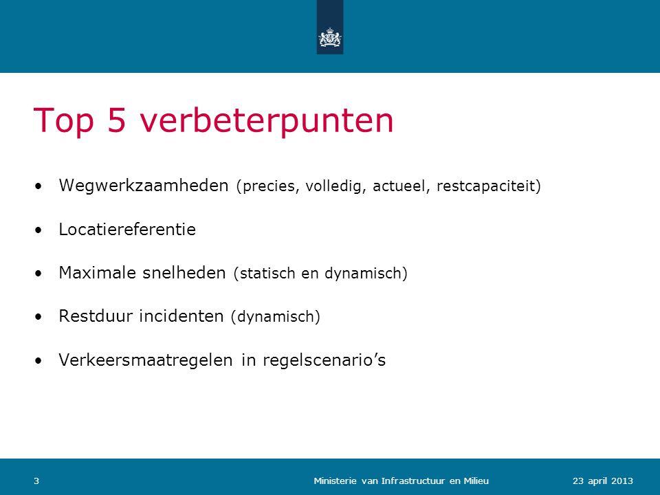 Top 5 verbeterpunten Wegwerkzaamheden (precies, volledig, actueel, restcapaciteit) Locatiereferentie.
