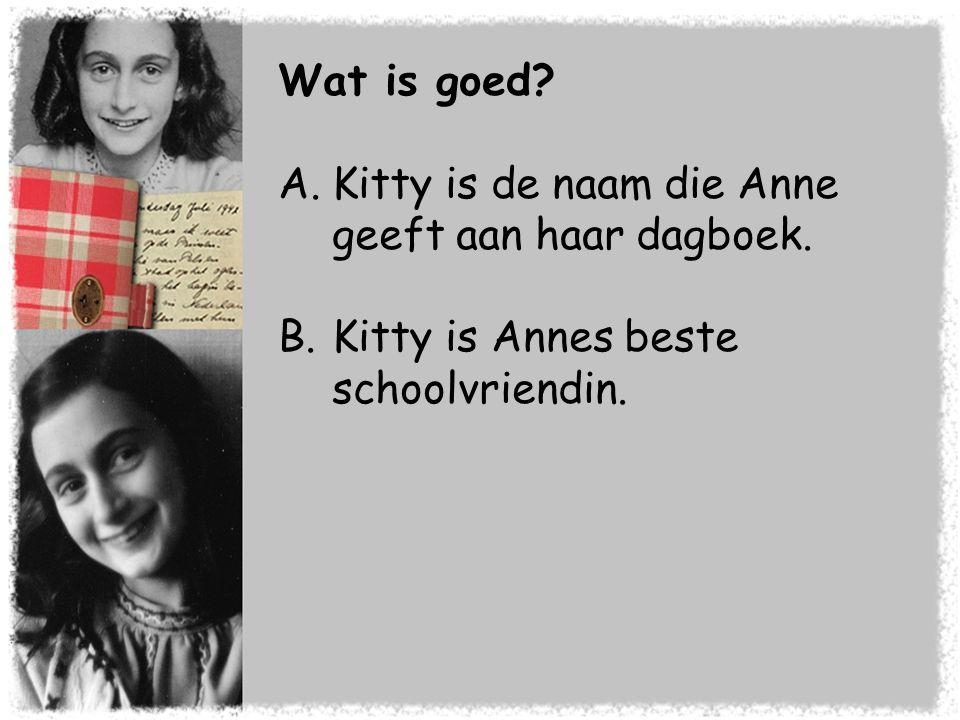 Wat is goed Kitty is de naam die Anne geeft aan haar dagboek. Kitty is Annes beste schoolvriendin.