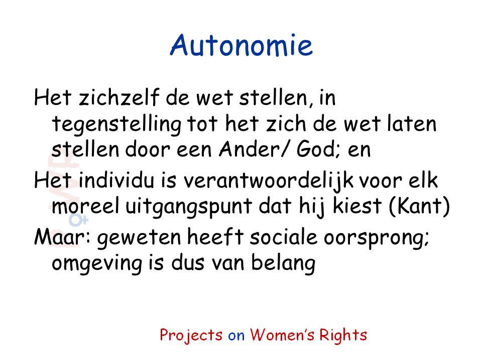 Autonomie Het zichzelf de wet stellen, in tegenstelling tot het zich de wet laten stellen door een Ander/ God; en.