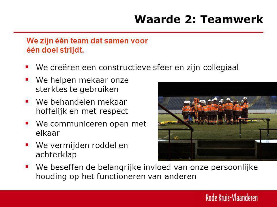 Waarde 2: Teamwerk We zijn één team dat samen voor één doel strijdt.