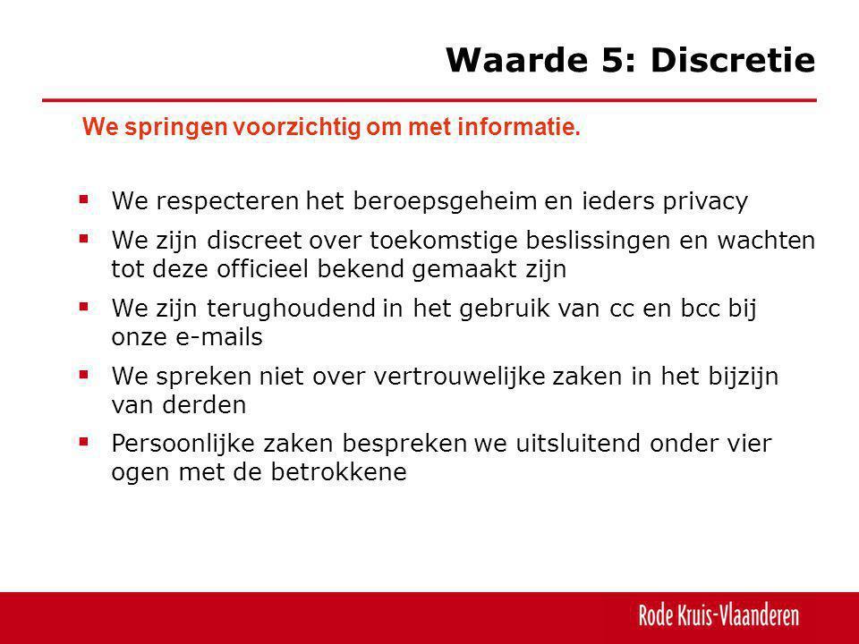 Waarde 5: Discretie We springen voorzichtig om met informatie.