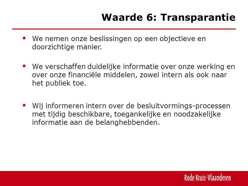 Waarde 6: Transparantie