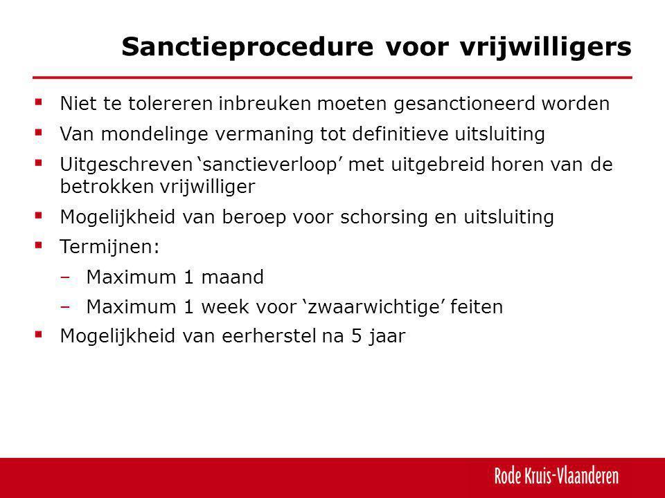 Sanctieprocedure voor vrijwilligers