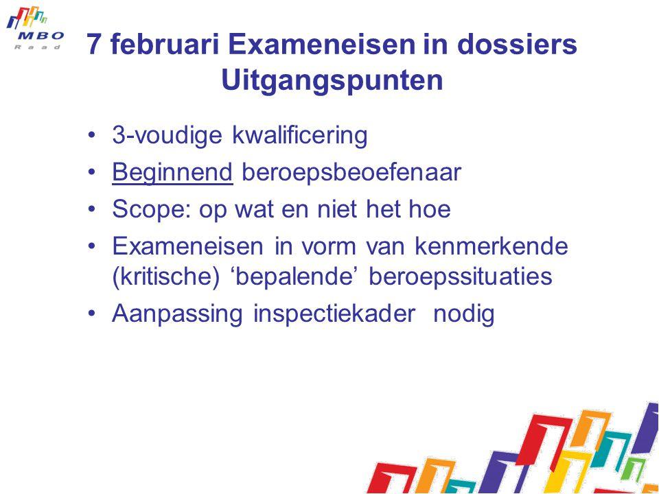 7 februari Exameneisen in dossiers Uitgangspunten