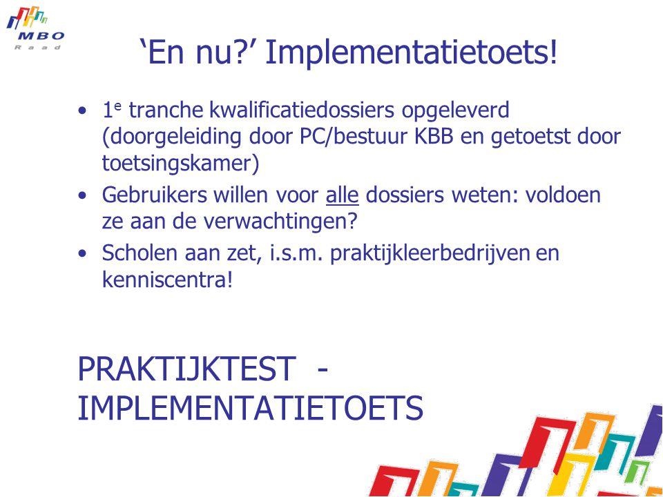'En nu ' Implementatietoets!