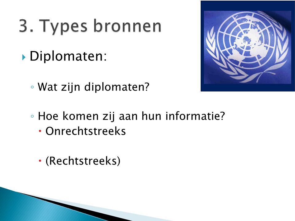 3. Types bronnen Diplomaten: Wat zijn diplomaten