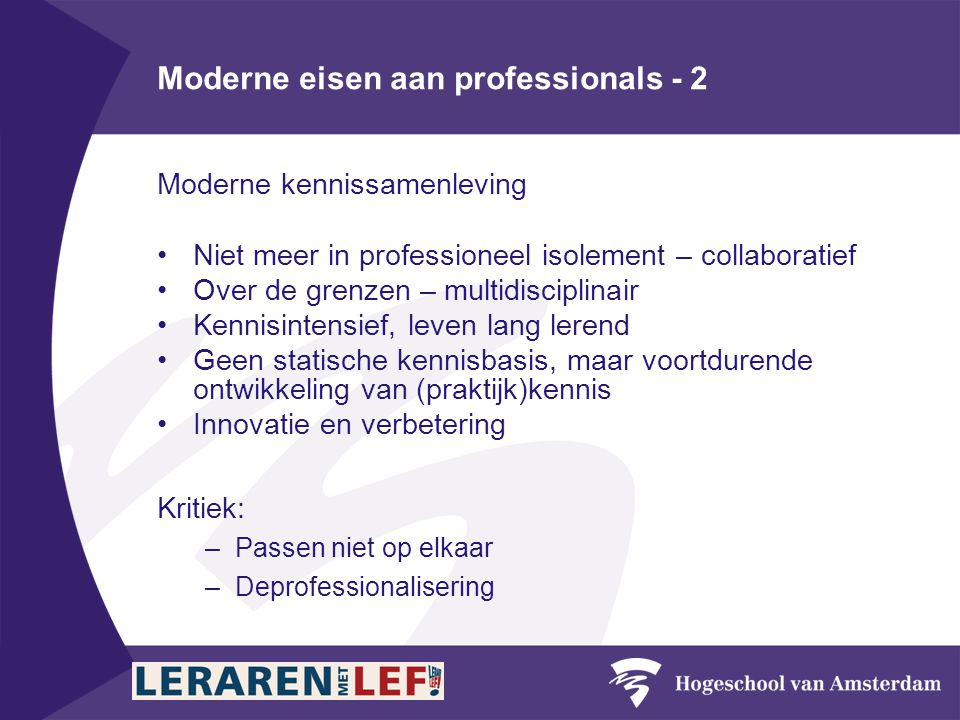 Moderne eisen aan professionals - 2