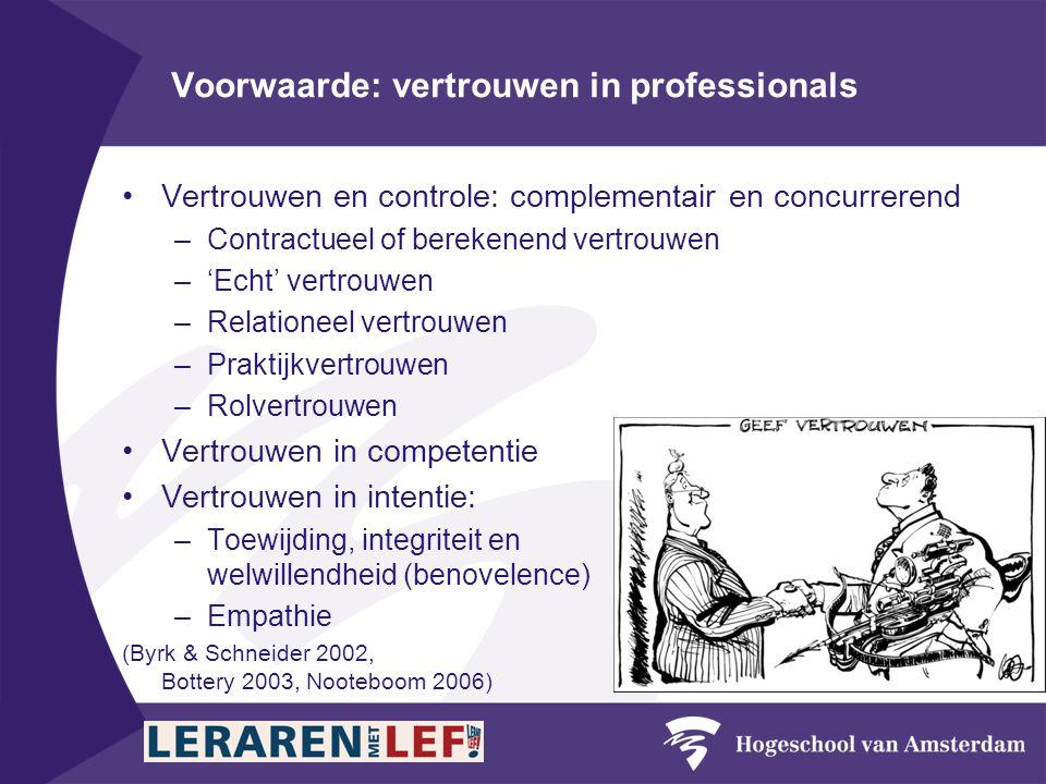 Voorwaarde: vertrouwen in professionals