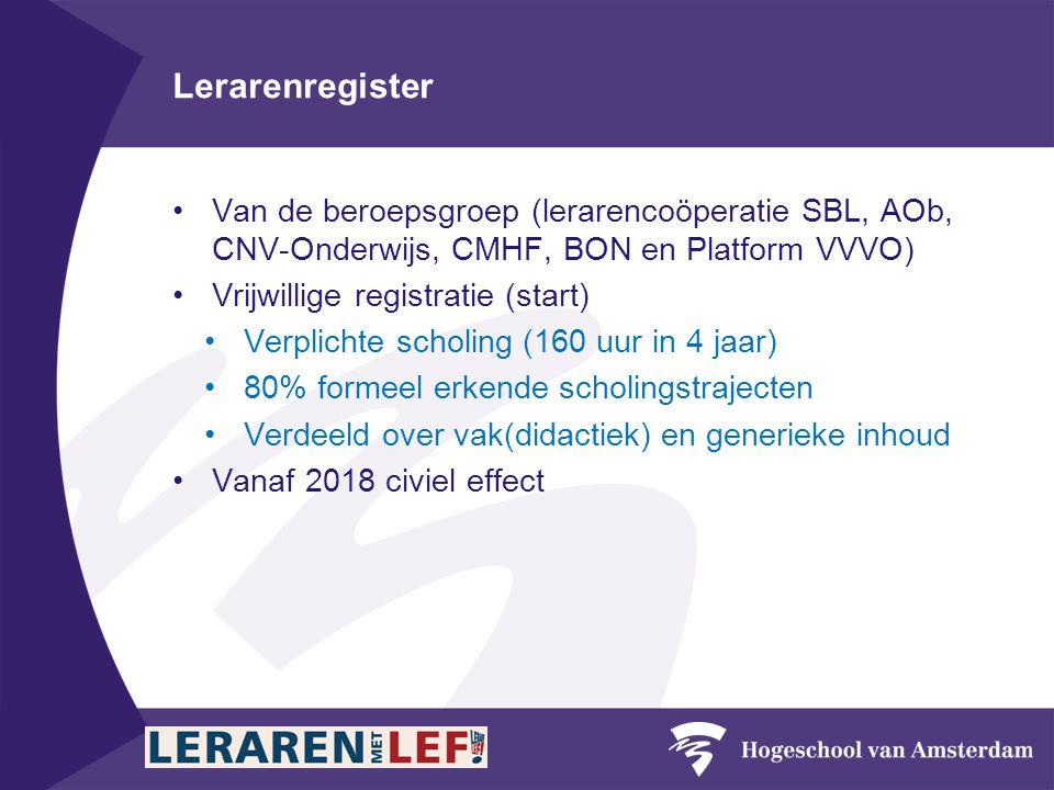 Lerarenregister Van de beroepsgroep (lerarencoöperatie SBL, AOb, CNV-Onderwijs, CMHF, BON en Platform VVVO)