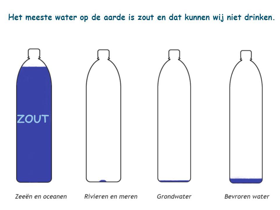 Het meeste water op de aarde is zout en dat kunnen wij niet drinken.