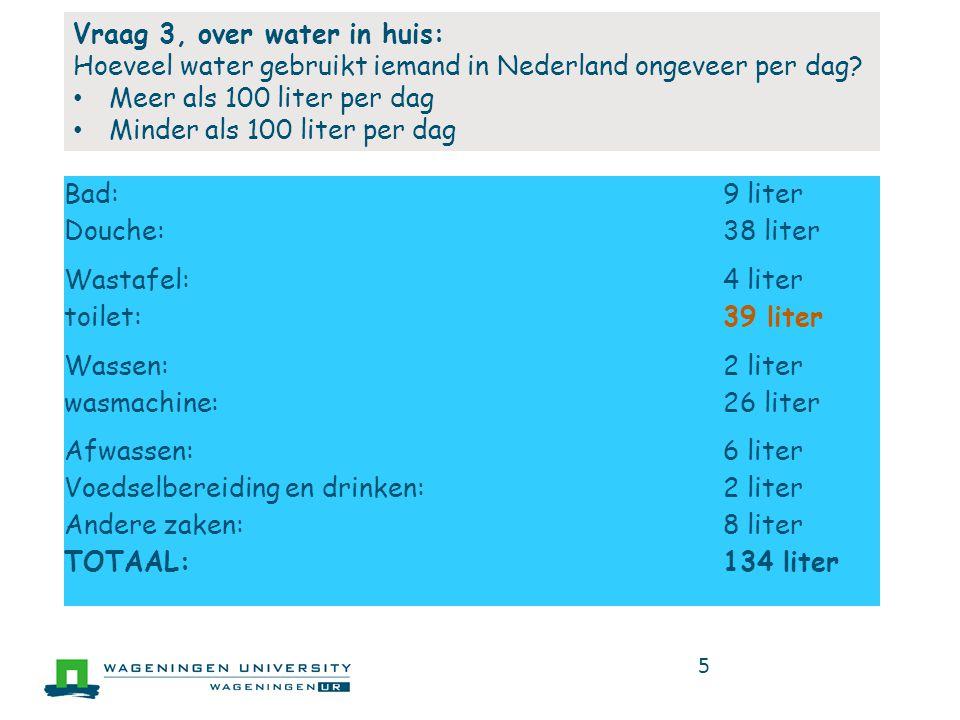 Vraag 3, over water in huis: