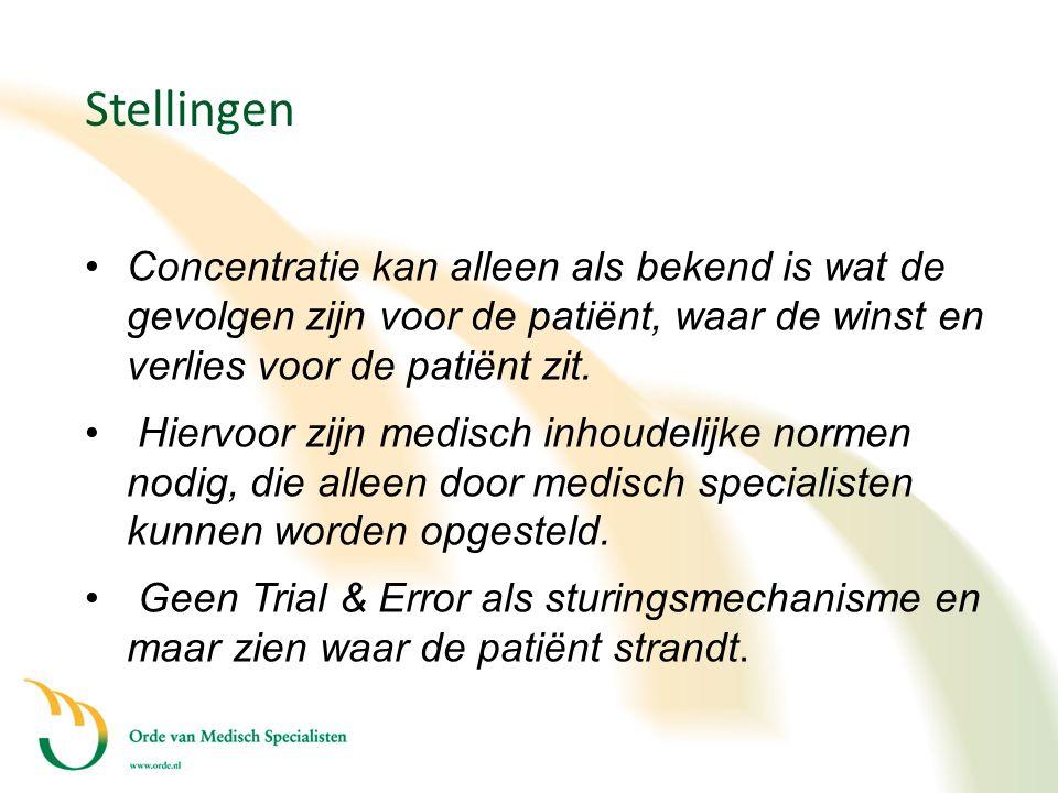 Stellingen Concentratie kan alleen als bekend is wat de gevolgen zijn voor de patiënt, waar de winst en verlies voor de patiënt zit.