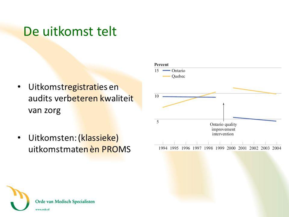 De uitkomst telt Uitkomstregistraties en audits verbeteren kwaliteit van zorg. Uitkomsten: (klassieke) uitkomstmaten èn PROMS.