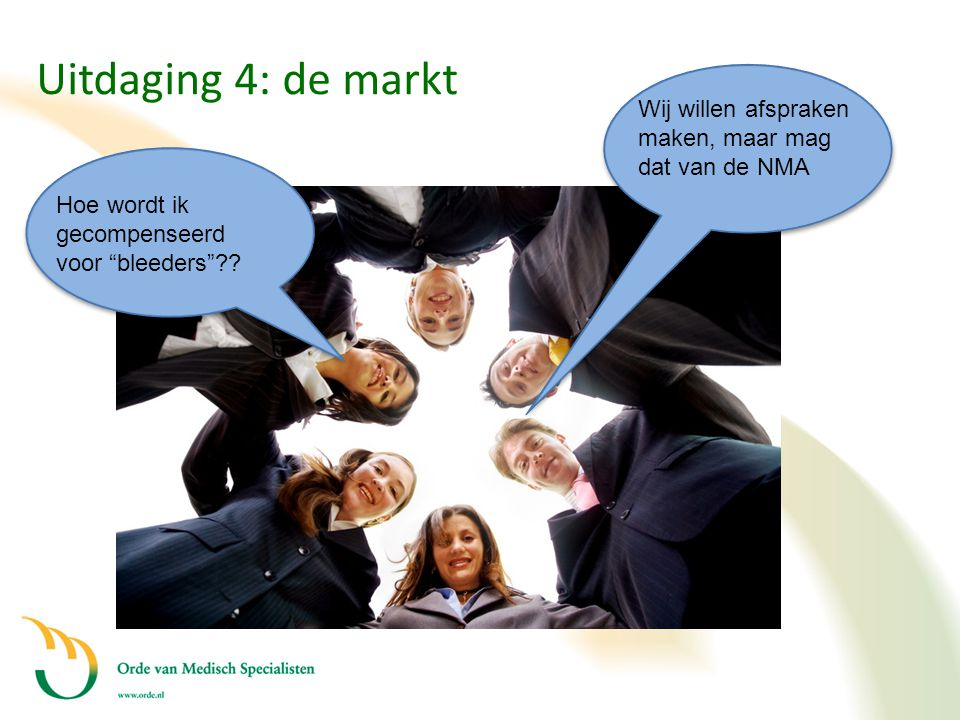 Uitdaging 4: de markt Wij willen afspraken maken, maar mag dat van de NMA. Hoe wordt ik gecompenseerd voor bleeders