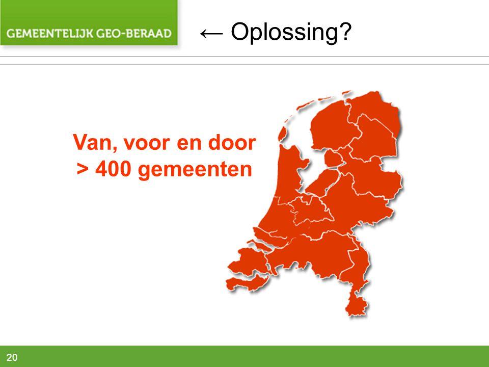 ← Oplossing Van, voor en door > 400 gemeenten