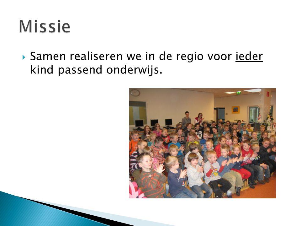 Missie Samen realiseren we in de regio voor ieder kind passend onderwijs.