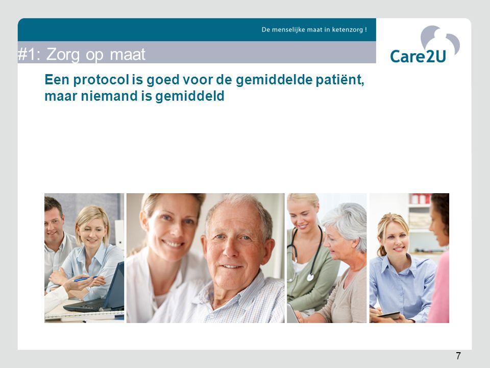 #1: Zorg op maat Een protocol is goed voor de gemiddelde patiënt, maar niemand is gemiddeld. Diabeet van 25 ≠ kwetsbare oudere.