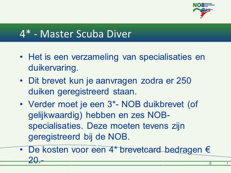 4* - Master Scuba Diver Het is een verzameling van specialisaties en duikervaring.