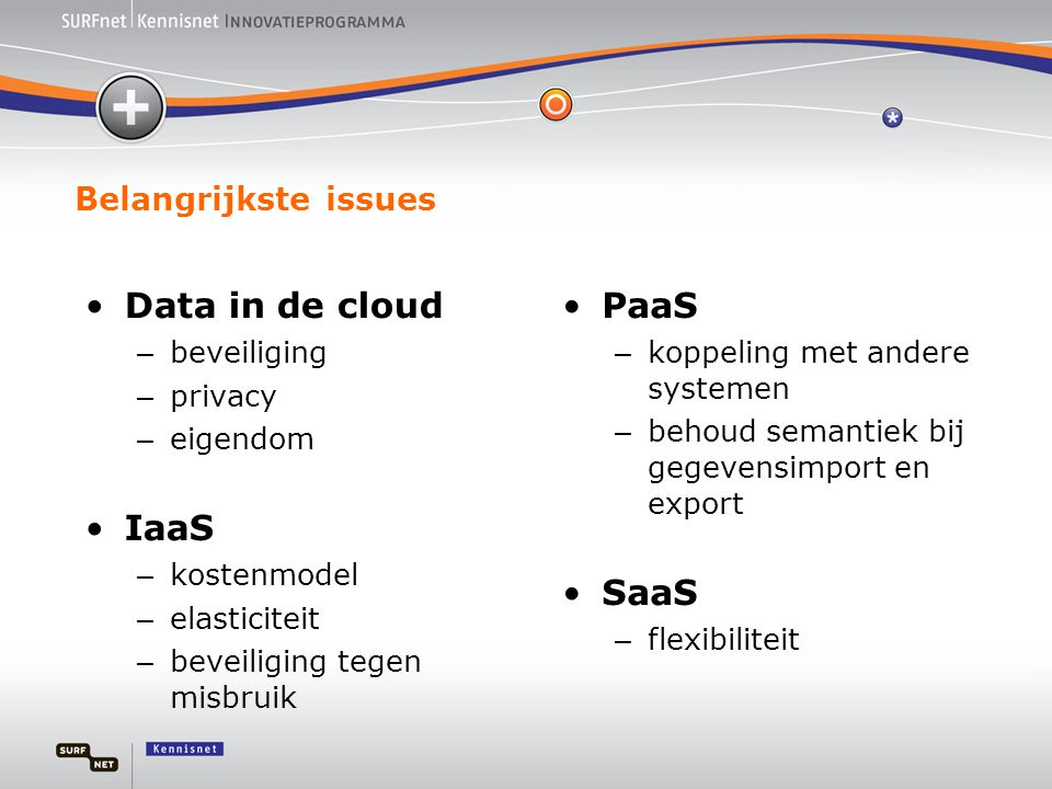 Data in de cloud IaaS PaaS SaaS Belangrijkste issues beveiliging