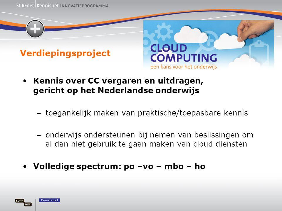 Verdiepingsproject Kennis over CC vergaren en uitdragen, gericht op het Nederlandse onderwijs. toegankelijk maken van praktische/toepasbare kennis.