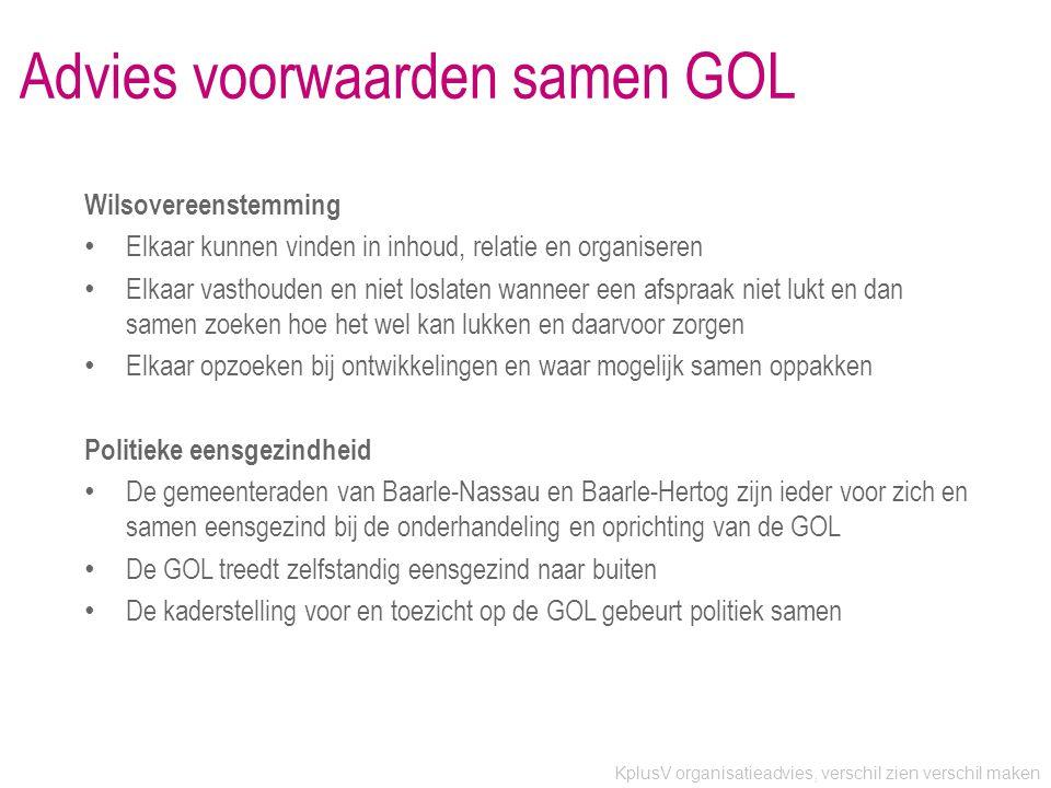 Advies voorwaarden samen GOL