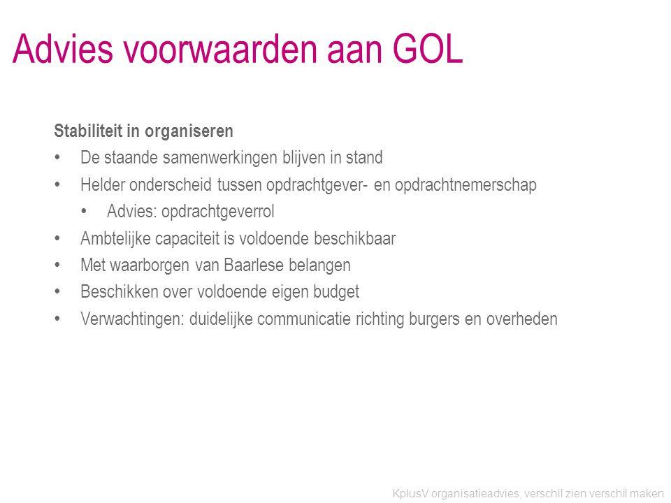 Advies voorwaarden aan GOL