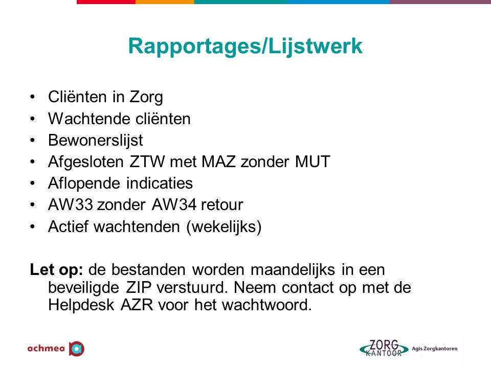 Rapportages/Lijstwerk