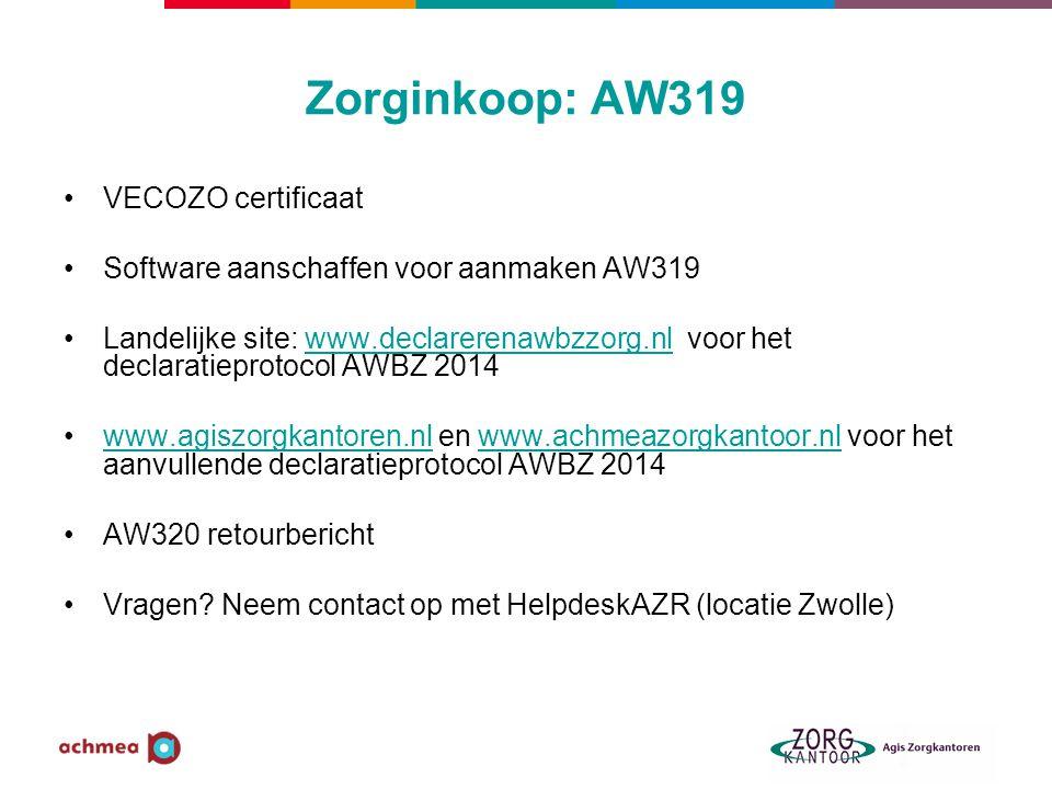 Zorginkoop: AW319 VECOZO certificaat