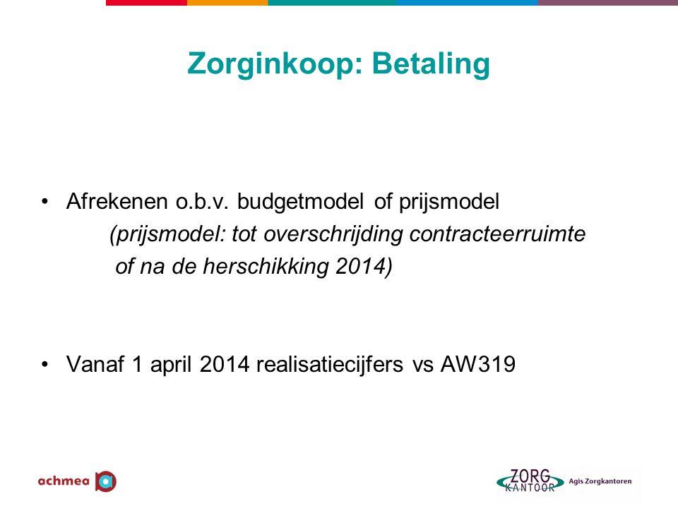 Zorginkoop: Betaling Afrekenen o.b.v. budgetmodel of prijsmodel