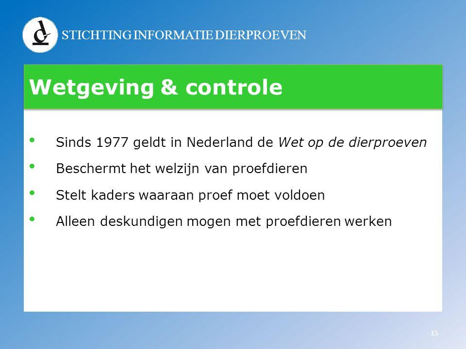 Wetgeving & controle Sinds 1977 geldt in Nederland de Wet op de dierproeven. Beschermt het welzijn van proefdieren.