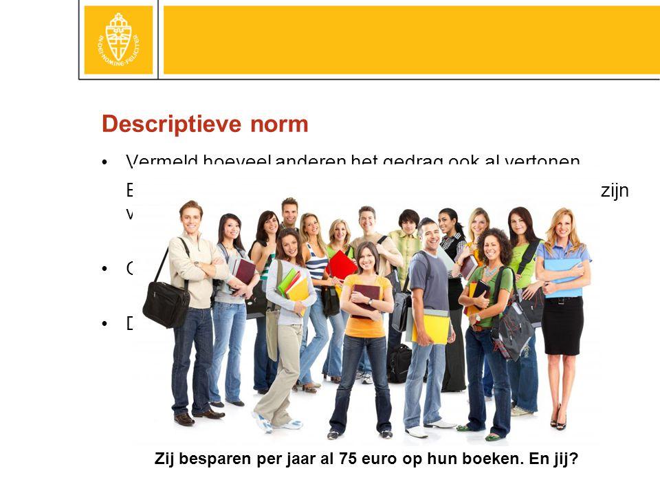 Descriptieve norm Vermeld hoeveel anderen het gedrag ook al vertonen.