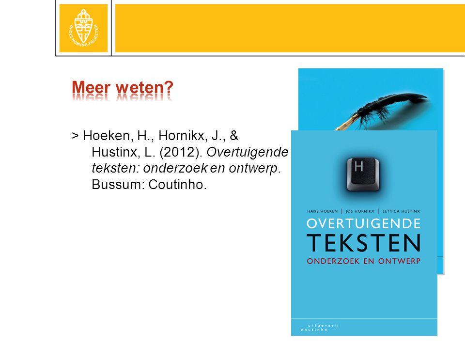 Meer weten. > Hoeken, H., Hornikx, J., & Hustinx, L.