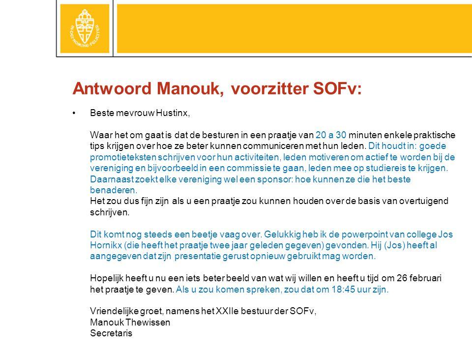 Antwoord Manouk, voorzitter SOFv: