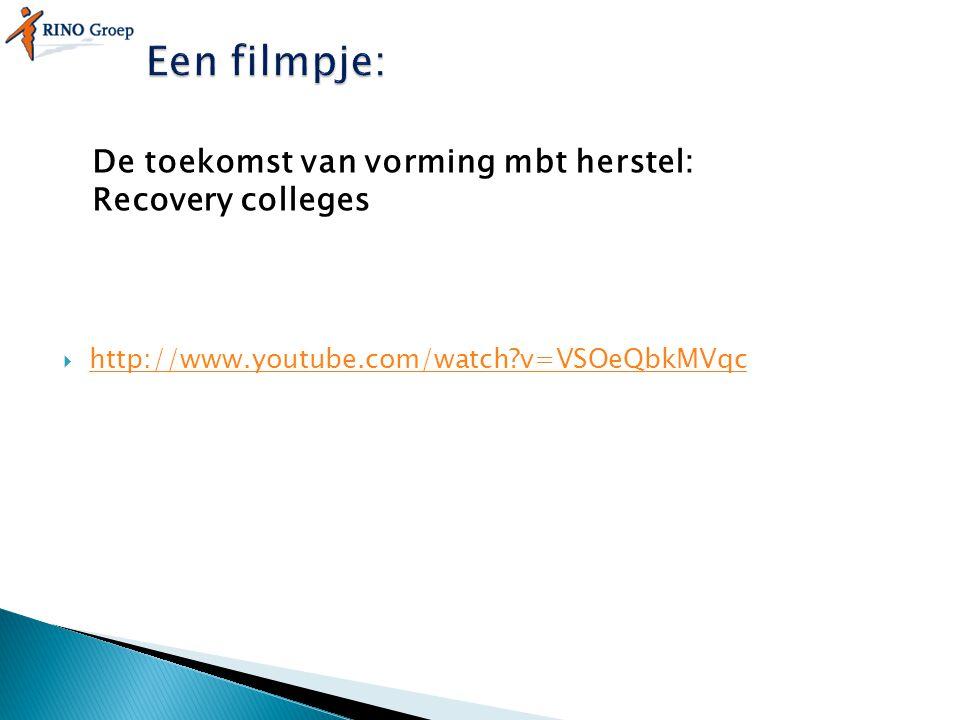 Een filmpje: De toekomst van vorming mbt herstel: Recovery colleges
