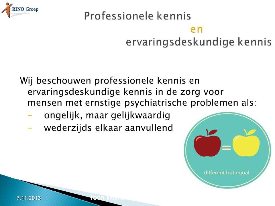 Professionele kennis en ervaringsdeskundige kennis