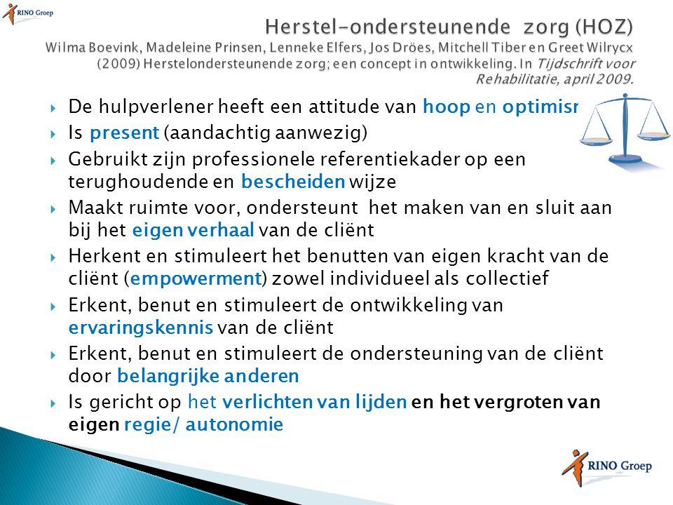 Herstel-ondersteunende zorg (HOZ) Wilma Boevink, Madeleine Prinsen, Lenneke Elfers, Jos Dröes, Mitchell Tiber en Greet Wilrycx (2009) Herstelondersteunende zorg; een concept in ontwikkeling. In Tijdschrift voor Rehabilitatie, april 2009.