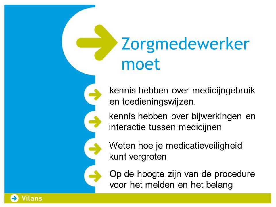 Zorgmedewerker moet kennis hebben over medicijngebruik en toedieningswijzen. kennis hebben over bijwerkingen en interactie tussen medicijnen.