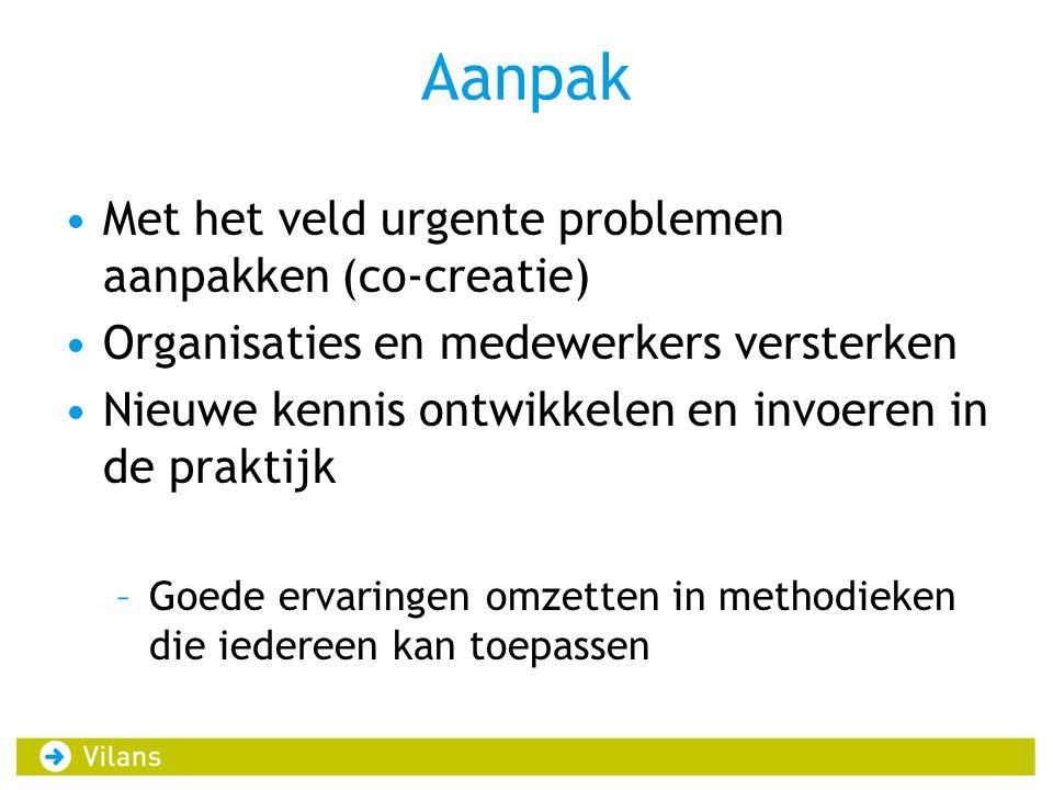 Aanpak Met het veld urgente problemen aanpakken (co-creatie)