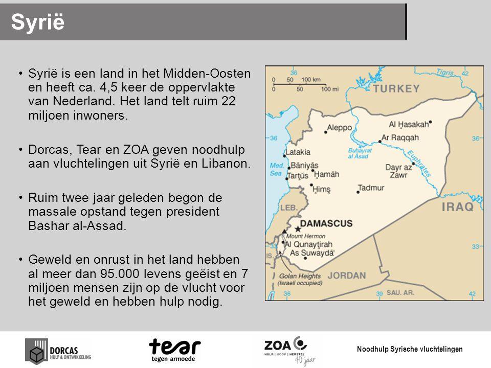 Syrië Syrië is een land in het Midden-Oosten en heeft ca. 4,5 keer de oppervlakte van Nederland. Het land telt ruim 22 miljoen inwoners.