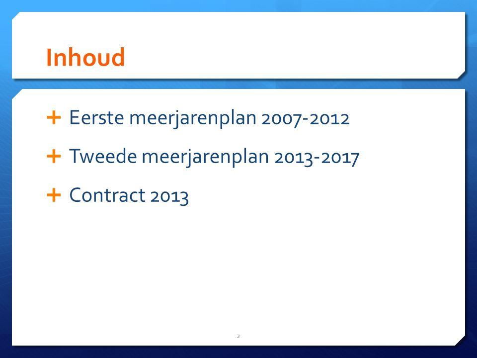 Inhoud Eerste meerjarenplan 2007-2012 Tweede meerjarenplan 2013-2017