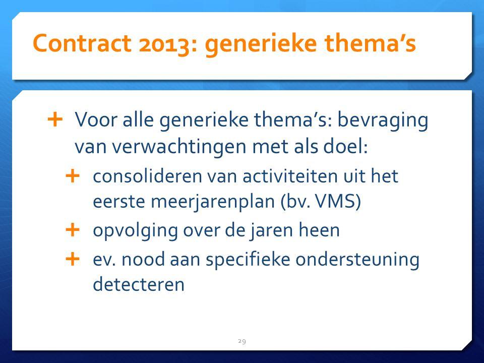 Contract 2013: generieke thema's